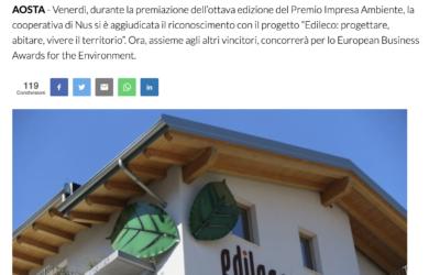 """Edileco vince a Venezia il premio per la """"Migliore Gestione per lo sviluppo sostenibile"""""""