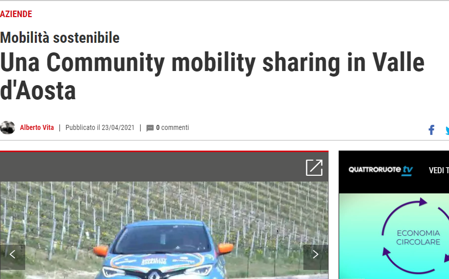 Una Community mobility sharing in Valle d'Aosta