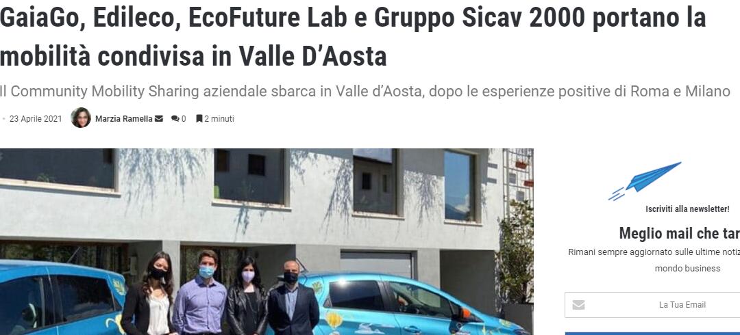 GaiaGo, Edileco, EcoFuture Lab e Gruppo Sicav 2000 portano la mobilità condivisa in Valle D'Aosta