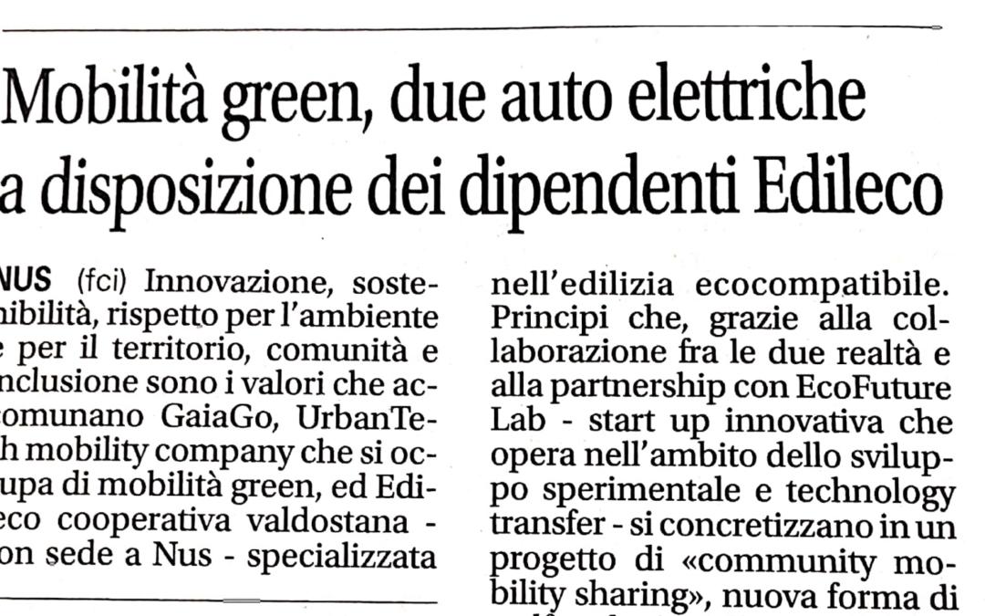 Mobilità green, due auto elettriche a disposizione dei dipendenti Edileco
